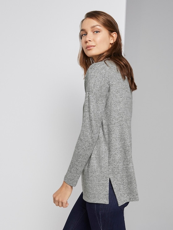 Lang t-shirt - Vrouwen - Silver Grey Melange - 5 - TOM TAILOR