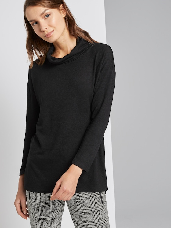 Lang t-shirt - Vrouwen - Deep Black - 5 - TOM TAILOR