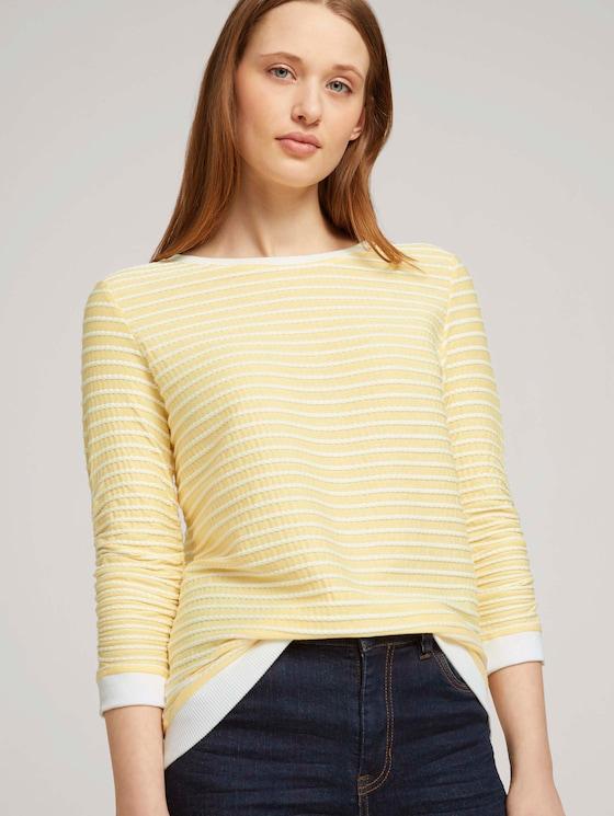 Gestreiftes Jacquard Sweatshirt - Frauen - yellow white structured stripe - 5 - TOM TAILOR Denim