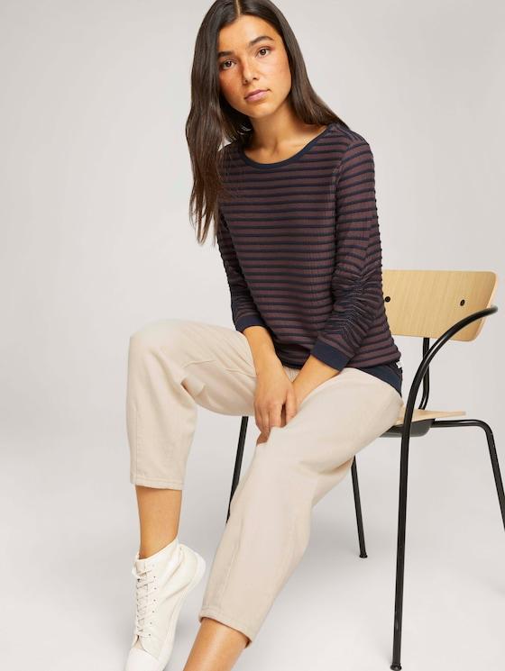 Gestreiftes Jacquard Sweatshirt - Frauen - blue brown structure stripe - 5 - TOM TAILOR Denim