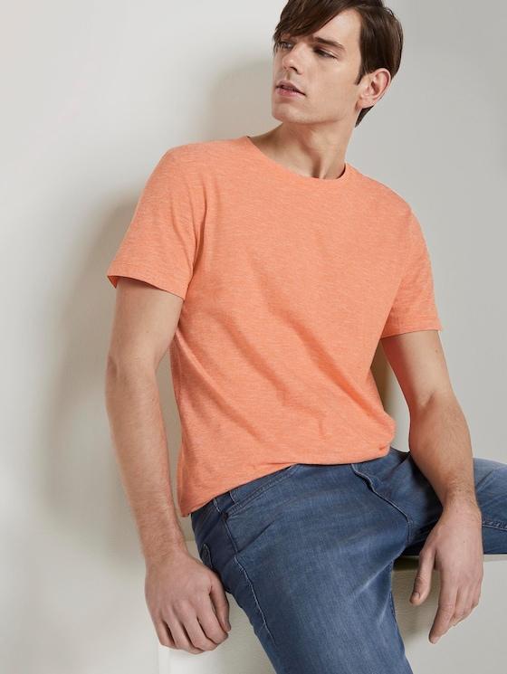 T-shirt met patroon - Mannen - orange yarn dye stripe - 5 - TOM TAILOR Denim