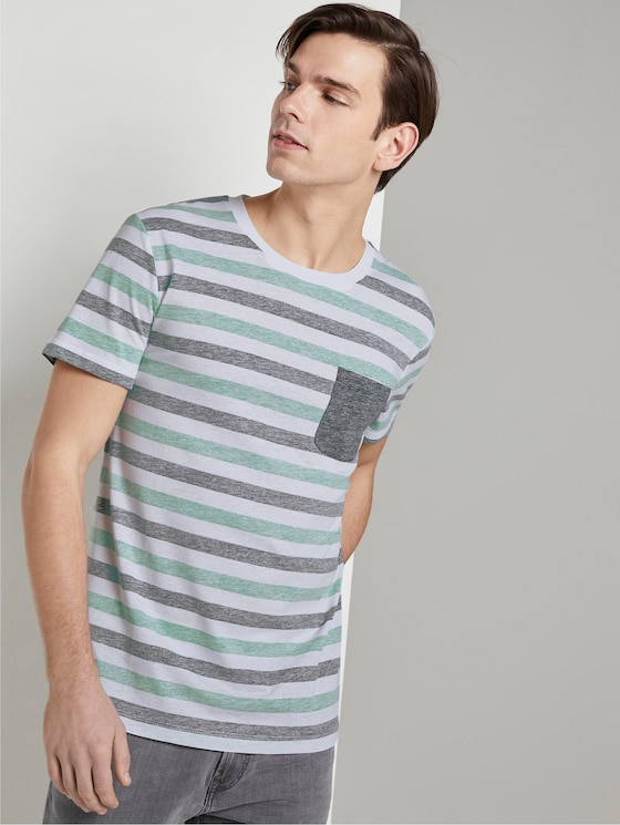 Striped T-shirt with a chest pocket - Men - two colored middle stripe - 5 - TOM TAILOR Denim