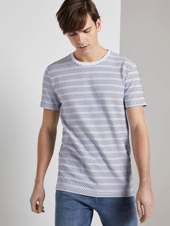 Patterned T-shirt - Men - white blue jacquard stripe - 5 - TOM TAILOR Denim