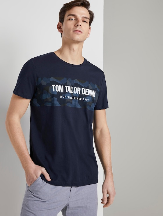 T-Shirt mit Print - Männer - Sky Captain Blue - 5 - TOM TAILOR Denim