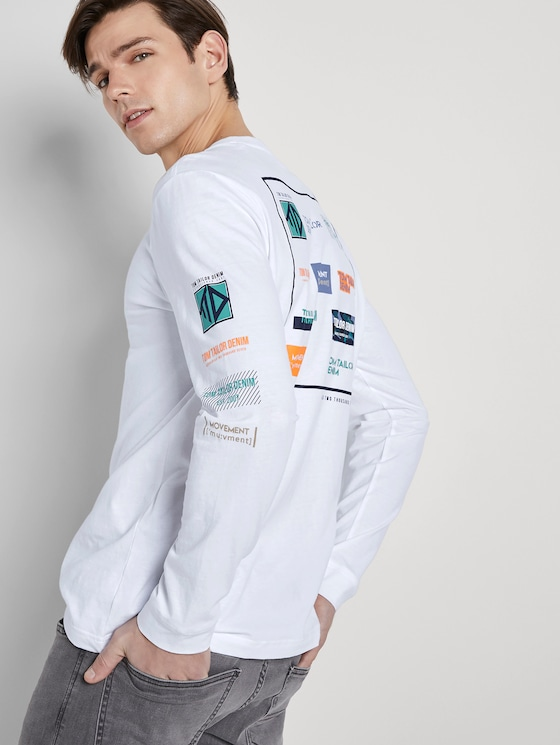 Langarmshirt mit Rücken-Print - Männer - White - 5 - TOM TAILOR Denim