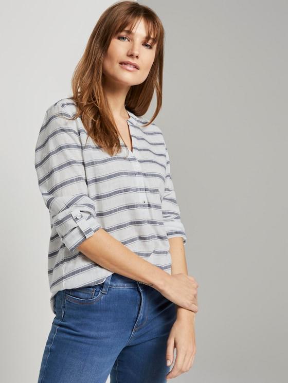 striped Henley blouse - Women - white navy stripe - 5 - TOM TAILOR Denim