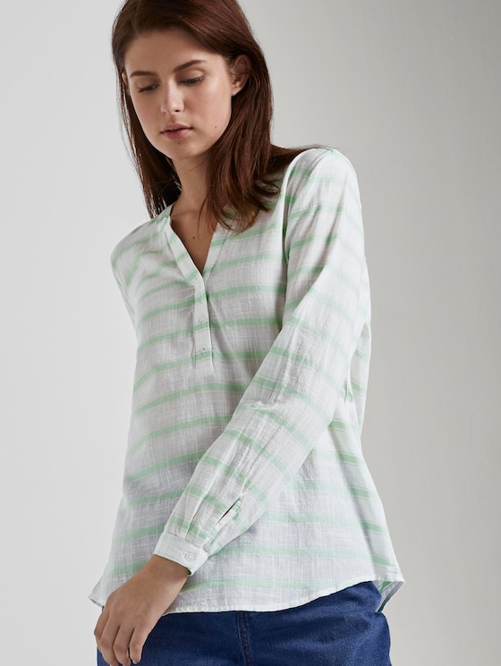 gestreifte Henley-Bluse - Frauen - white green stripe - 5 - TOM TAILOR Denim