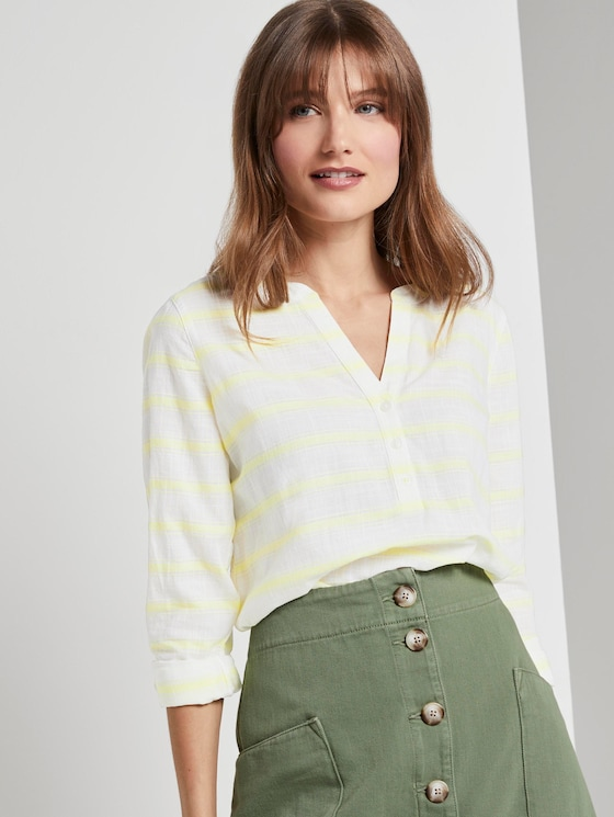 striped Henley blouse - Women - white yellow stripe - 5 - TOM TAILOR Denim
