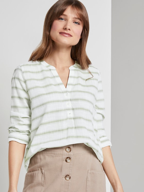 gestreifte Henley-Bluse - Frauen - white olive stripe - 5 - TOM TAILOR Denim