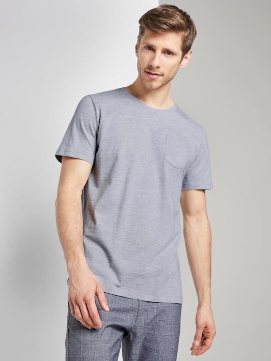 Striped T-shirt with a letter print - Men - light grey stripe - 5 - TOM TAILOR