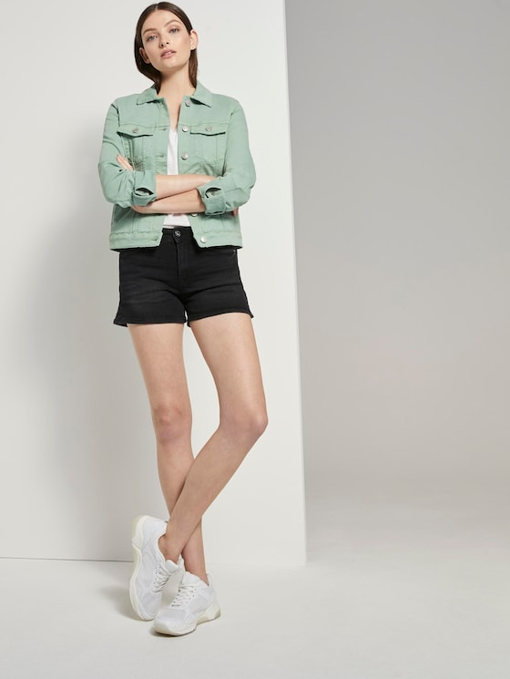 High-Waist Jeans-Shorts mit Push-Up-Effekt - Frauen - used mid stone black denim - 3 - TOM TAILOR Denim