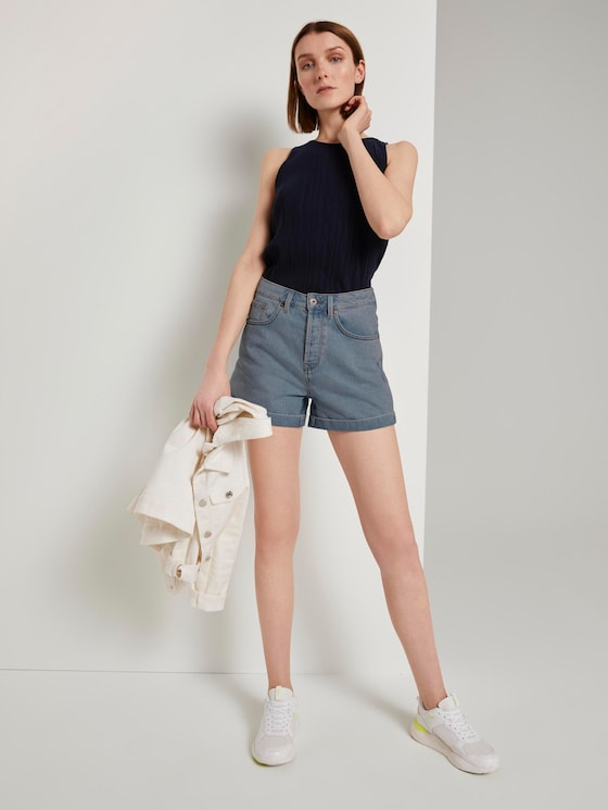 Mom fit high-waisted jeans shorts - Women - Used Mid Stone Blue Denim - 3 - TOM TAILOR Denim