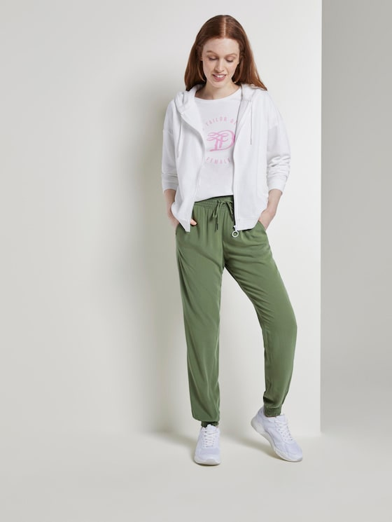 Haremshose aus Crêpe - Frauen - dull moss green - 3 - TOM TAILOR Denim