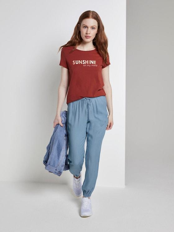 Denim-look Harem trousers with an elastic waistband - Women - Used Light Stone Blue Denim - 3 - TOM TAILOR Denim