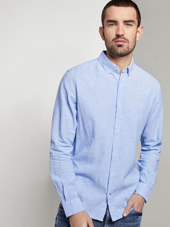 Hemd aus Leinengemisch - Männer - Sky Blue Chambray - 5 - TOM TAILOR