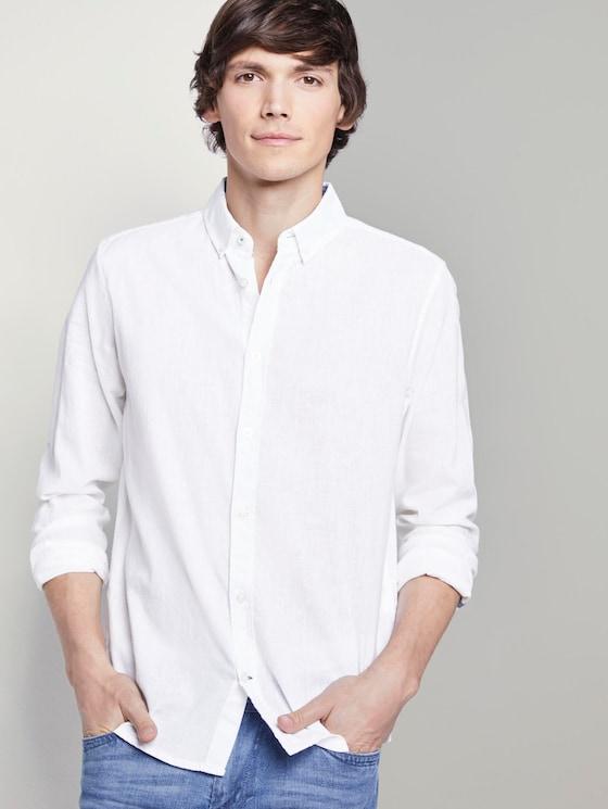 Hemd aus Leinengemisch - Männer - White - 5 - TOM TAILOR