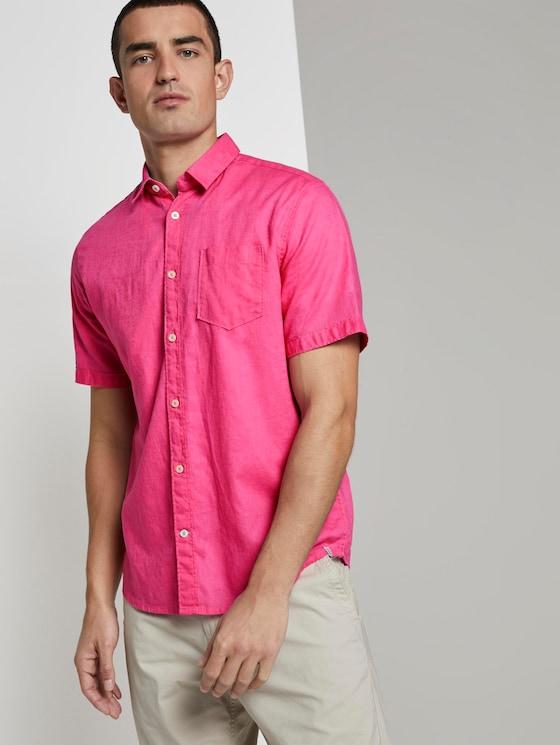 Short-sleeved shirt made of linen blend - Men - carmine pink - 5 - TOM TAILOR