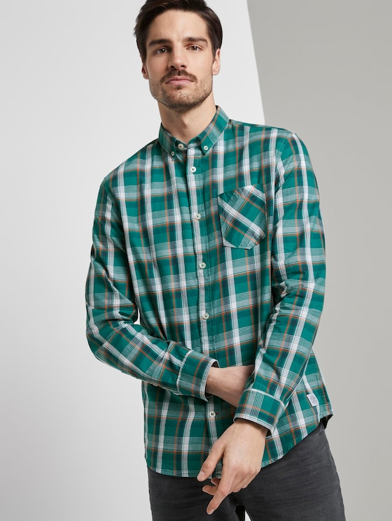 Checked shirt - Men - green base colourful check - 5 - TOM TAILOR