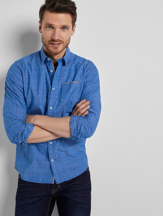 Hemd im Muster-Mix - Männer - blue check with navy clipper - 5 - TOM TAILOR