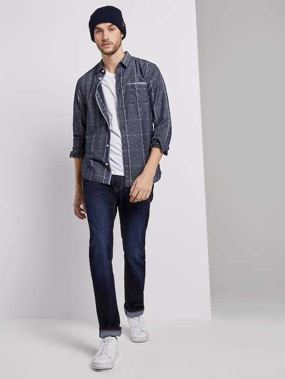 Hemd im Muster-Mix - Männer - navy check with red clipper - 5 - TOM TAILOR
