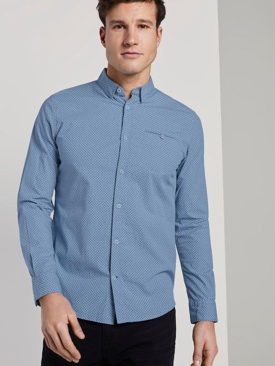 Gemustertes Hemd - Männer - blue geometric design - 5 - TOM TAILOR