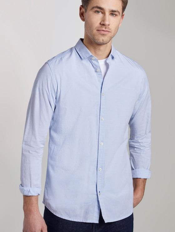 Strukturiertes Hemd mit schmalem Kent-Kragen - Männer - light blue stripe white dobby - 5 - TOM TAILOR