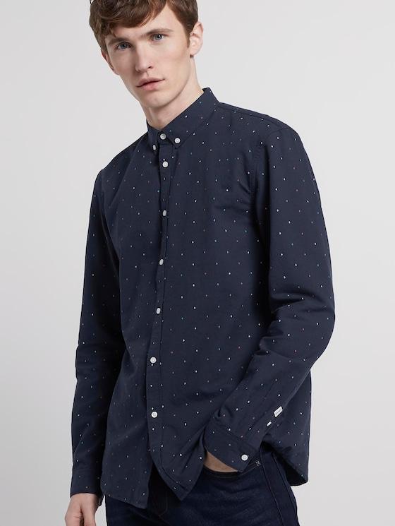Hemd mit Allover-Print - Männer - navy triangle mix print - 5 - TOM TAILOR Denim