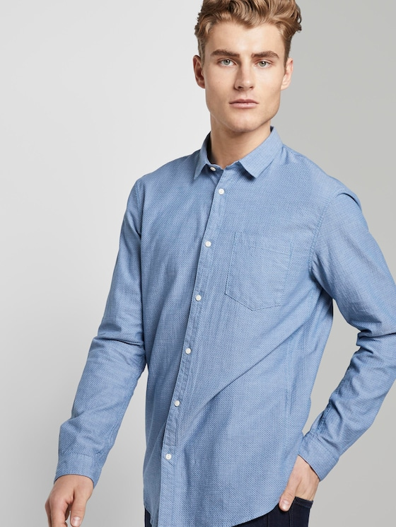 Printed shirt with chest pocket - Men - blue white rhomb structure - 5 - TOM TAILOR Denim
