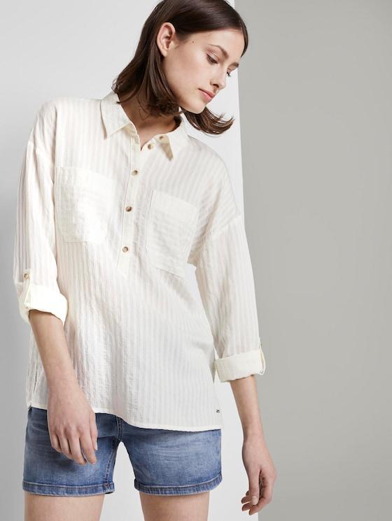 Oversize Tunika mit Taschen - Frauen - Gardenia White - 5 - TOM TAILOR Denim