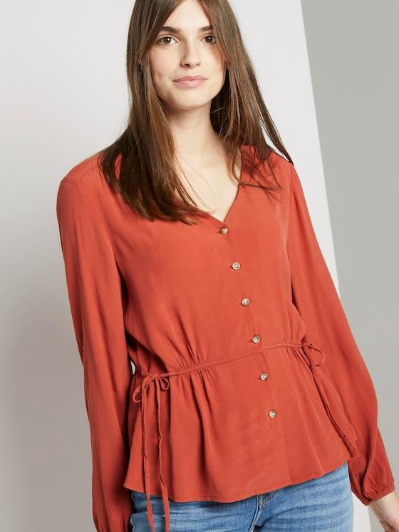 Bluse mit Taillen-Detail - Frauen - fox orange - 5 - TOM TAILOR Denim