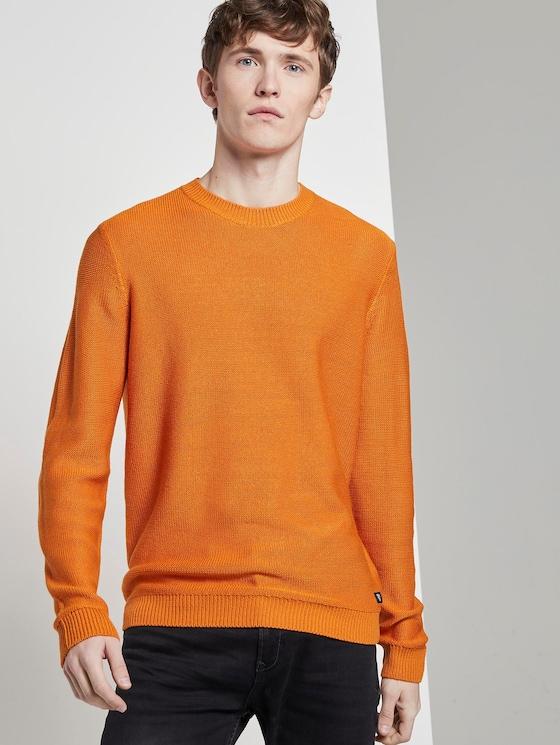 Strickpullover mit Rundhalsausschnitt - Männer - perfect orange - 5 - TOM TAILOR Denim