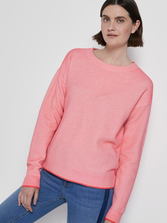 Two-tone textured sweater - Women - charming pink - 5 - TOM TAILOR