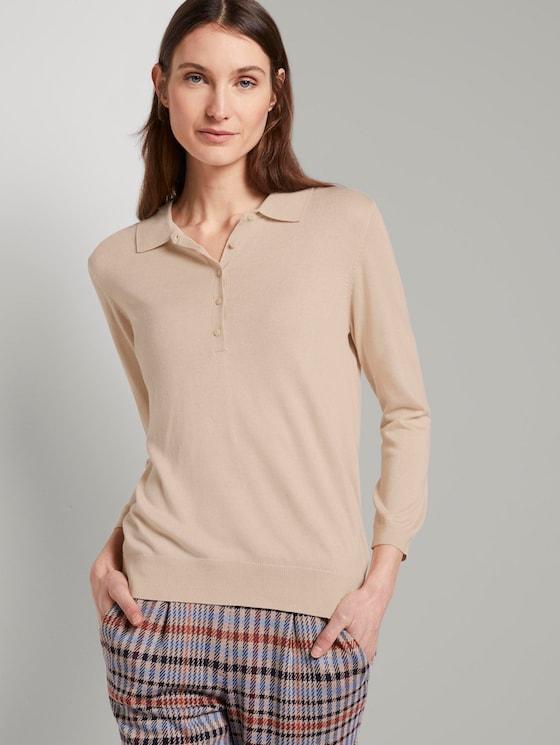 Pullover mit Polokragen - Frauen - silky vanilla melange - 5 - TOM TAILOR