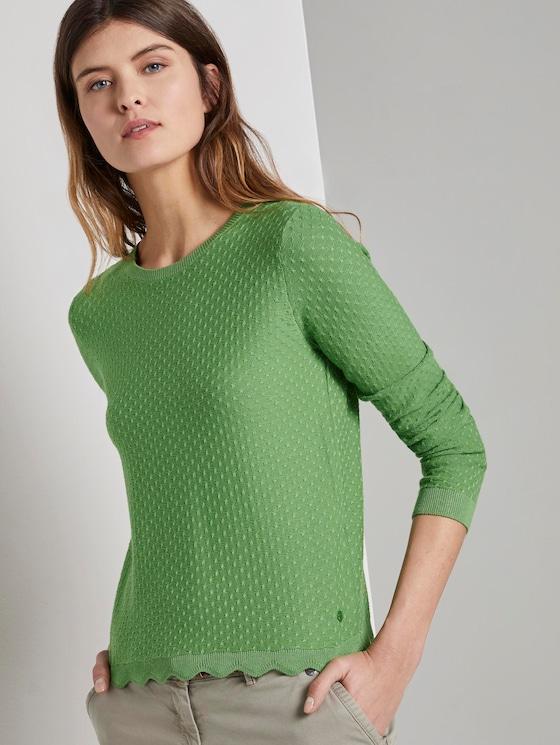 Strukturierter Pullover mit geschwungenem Saum - Frauen - sundried turf green - 5 - TOM TAILOR