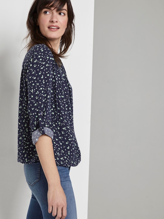 Printed blouse with an elastic waistband - Women - navy green flower design - 5 - TOM TAILOR