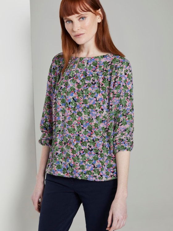 Gemusterte Bluse mit elastischem Bund - Frauen - colorful floral design - 5 - TOM TAILOR