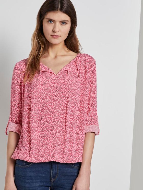 Gemusterte Bluse mit elastischem Bund - Frauen - pink offwhite floral minimal - 5 - TOM TAILOR