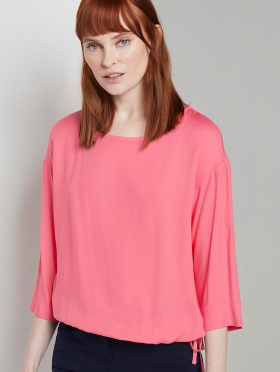 Blouse top with an adjustable waistband - Women - charming pink - 5 - TOM TAILOR