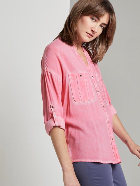 Blouse met borstzakken - Vrouwen - charming pink - 5 - TOM TAILOR