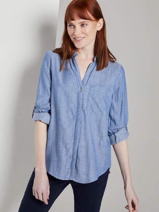 Double-sided cotton shirt-blouse - Women - Kentucky Blue Melange - 5 - TOM TAILOR