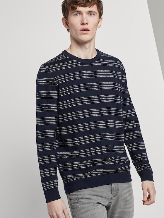Striped knitted sweater - Men - navy mini jacquard stripe - 5 - TOM TAILOR Denim
