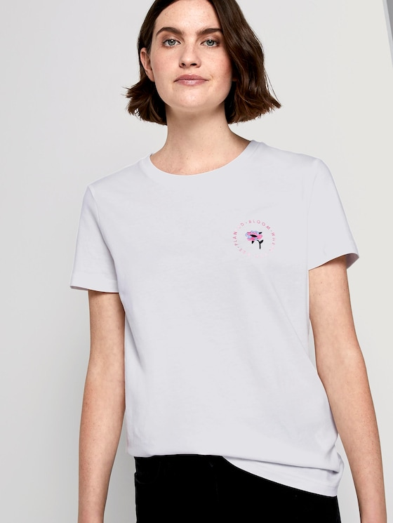 T-shirt with a floral print - Women - Dove White - 5 - TOM TAILOR