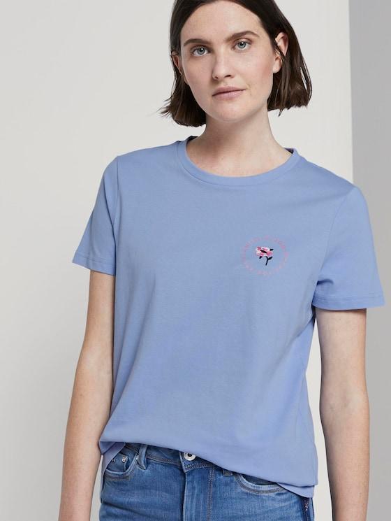 T-Shirt mit floralem Print - Frauen - Parisienne Blue - 5 - TOM TAILOR