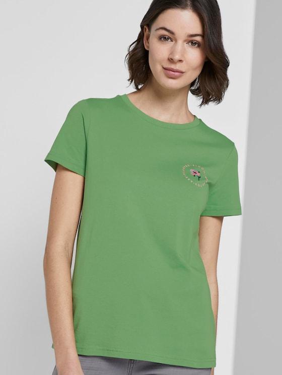 T-Shirt mit floralem Print - Frauen - sundried turf green - 5 - TOM TAILOR