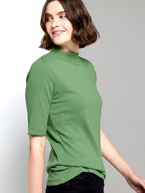 Striped turtleneck T-shirt - Women - sundried turf green - 5 - TOM TAILOR