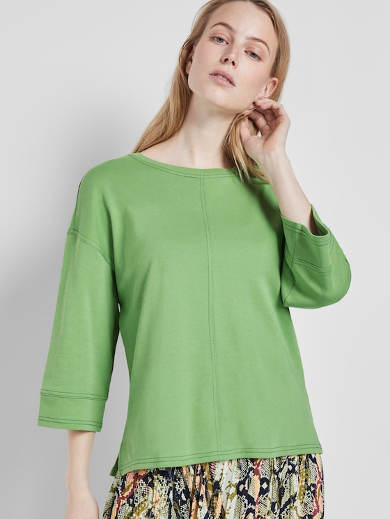 Cotton shirt with contrasting seams - Women - sundried turf green - 5 - TOM TAILOR