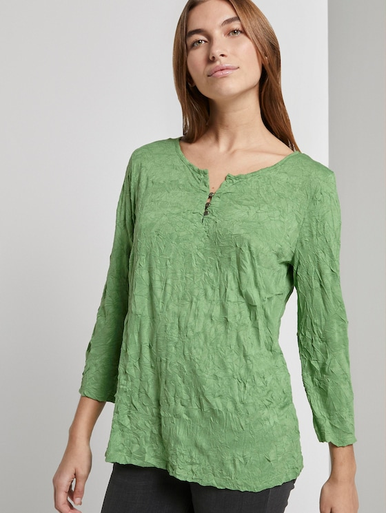 Gemustertes Shirt in Crincle-Optik - Frauen - sundried turf green - 5 - TOM TAILOR