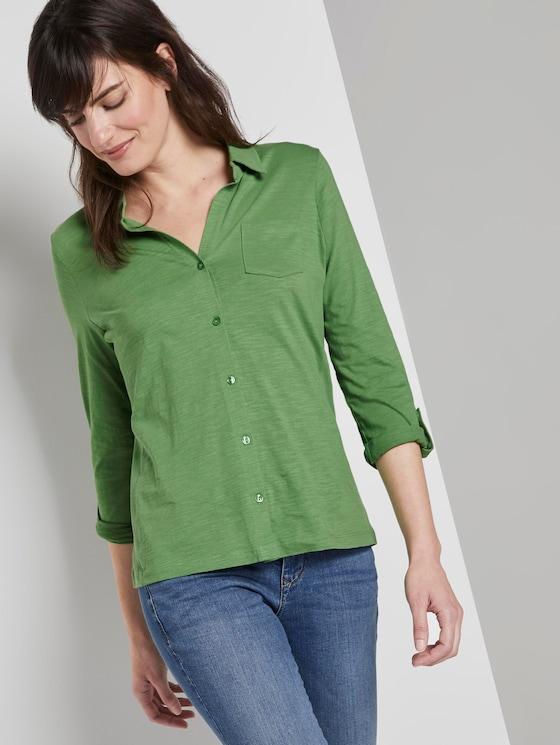 Hemdbluse mit seitlichem Ripp-Einsatz - Frauen - sundried turf green - 5 - TOM TAILOR