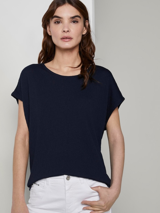T-Shirt in Crincle-Optik - Frauen - Sky Captain Blue - 5 - TOM TAILOR