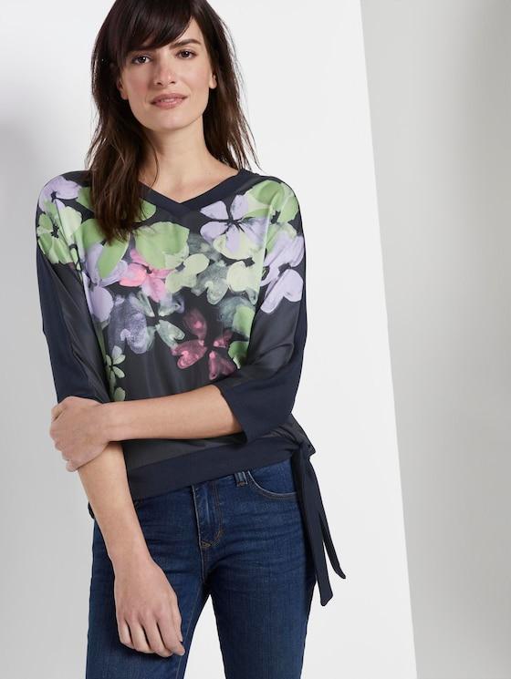 T-Shirt mit floralem Print im Material-Mix - Frauen - Sky Captain Blue - 5 - TOM TAILOR